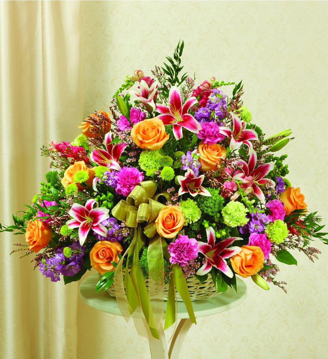Brightest Love Funeral Basket Flowers From The Heart