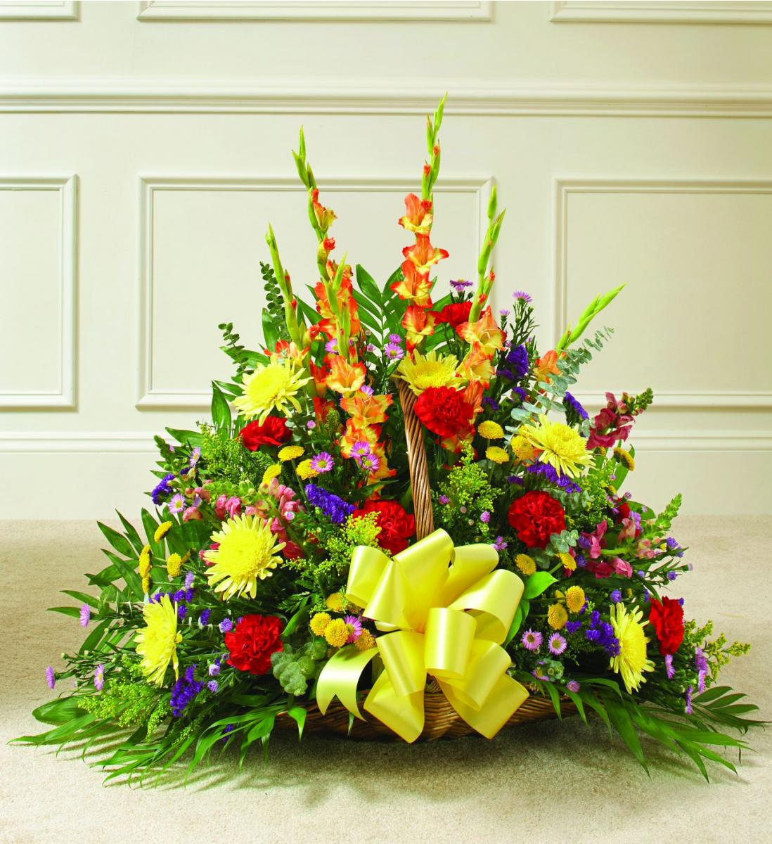 Colorful tribute fireside basket flowers from the heart item description izmirmasajfo