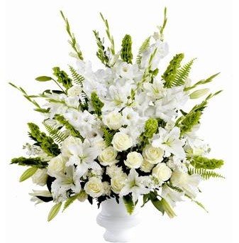 Classic Funeral Flowers in White