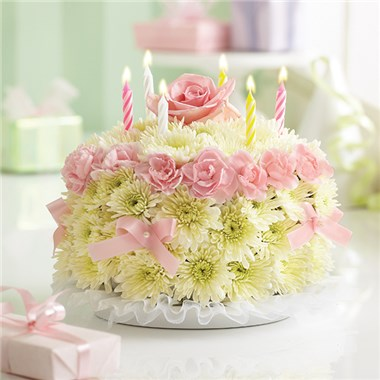 Pretty With Pink Birthday Floral Cake